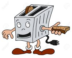 Hand Drawing Of A Funny Toaster Stock Vector