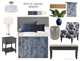 Restful Traditional Transitional Colonial Bedroom Design Mood Board Indigo Carved Wood