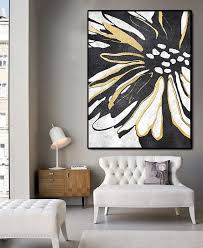 Huge Abstract Painting On Canvas Vertical Extra Large Wall Art Flower Black White