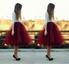 2017 dark red tutu formal skirt for women knee length full tutu
