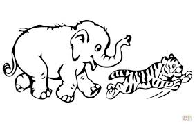 Tiger Cub Plays Baby Elephant Coloring Page Printable Click The Pages Mom And Animal