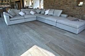 Living Room Design Gray Hardwood Floor Idea Stone Wall Elegant Sectional Leather Sofa
