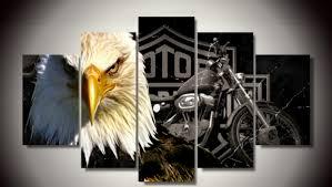 5 PCS Framed Eagle Motorcycle Canvas Prints