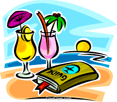Travel Guide And Cocktails On The Beach Royalty Free Vector Clip Art Illustration