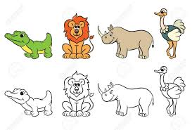 Outlined Jungle Animals Stock Photo © HitToon 7277478