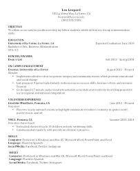Resume Samples For It University Student Sample Internship College Students