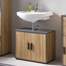 bad adria waschbecken unterschrank 65 cm breit mit 2 türen korpus alteiche dekor absatz graphit
