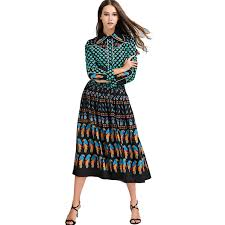 2018 Top Fashion Runway Bohemian Outfit Blouse Pleated Skirt Women Vintage Printed 2 Pieces Set Celebrity