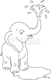 Baby Elephant Coloring Page Vector Art