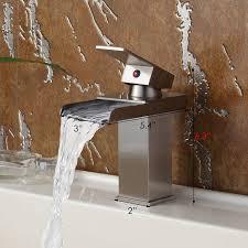 Brushed Nickel Bathroom Faucets Single Handle by Single Handle Bathroom Sink Waterfall Faucet Finish Brushed