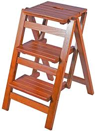 Folding 3 Pedal Stool Chair Solid Wood Portable Home Safety ...