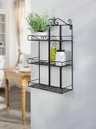 details zu wandregal küchenregal gewürzregal badregal metall schwarz landhaus 30x12x49 cm