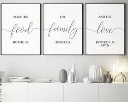 Set Of 3 PrintableBless The Food Before UsDining Room Decor Kitchen Wall ArtHome DecorKitchen SignsBible Verse Art