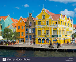 Historic Buildings In Dutch Caribbean Colonial Style Waterfront Willemstad Lesser Antilles