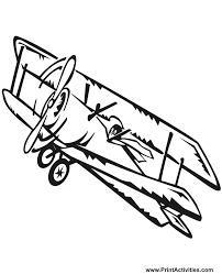 Airplane Coloring Page Of A Biplane In Flight