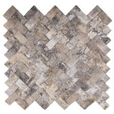 Scabos Travertine Natural Stone Wall Tile by 1x2 Silver Travertine Mosaic Tile Cambered Herringbone U2013 Dw Tile