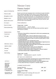 Entry Level Financial Analyst Resume Objective Format For Fresher