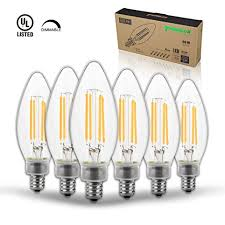 thinklux led filament candelabra bulb 5 watt 60 watt equal