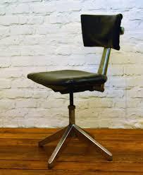 Industrial Leabank Swivel Office Chair Leather Metal Vintage | Etsy