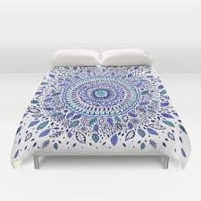 Indigo Flowered Mandala Duvet Cover by from Society6
