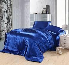 Royal blue bedding set silk fitted bed sheets satin super king