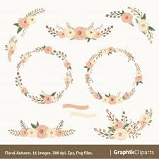 Floral Autum Wreaths Clipart Rustic Flowers