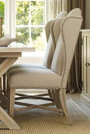 Grey Upholstered Dining Chairs With Nailheads by Dining Room Wingback Dining Chair Linen Tufted Dining Chairs