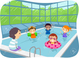 Illustration Of Kids Swimming In An Indoor Pool Royalty