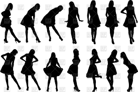 Silhouettes Of Women In Dresses Royalty Free Vector Clip Art