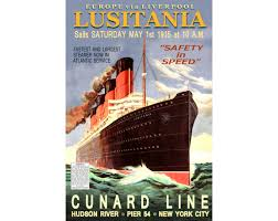 Rms Lusitania Model Sinking by Rms Lusitania Cunard Lines New Retro Ship Poster Art Ocean