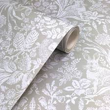 Holden Decor Harlen Sage Wallpaper From The Statement Collection A Beautiful Woodland Animal Design With Delicate Wild Flowers