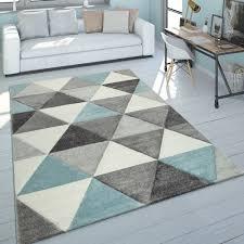 teppich wohnzimmer pastell 3 d look dreieck muster