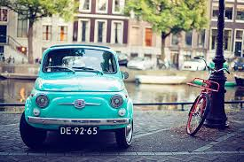 Bike Blue Car Cute Oldschool Scenery Vintage