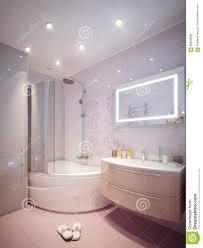 moderner badezimmerinnenraum mit den rosa und weißen fliesen