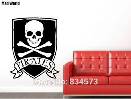 Mad World PIRATE SKULL AND CROSSBONES Silhouette Wall Art Stickers Decal Home DIY Decoration