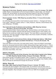 Scifi Fantasy Book List