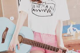 Shirt Kawaii Pastel Cute Pink Batman Lovely Bat New Girl Teenagers Shorts Short Summer