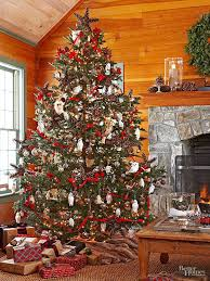 Bring A Cozy Cabin Vibe To Your Home By Decking Out Christmas Tree In Traditional Favorites Red Ribbon Garland Pinecone Stars And Woodland Creature