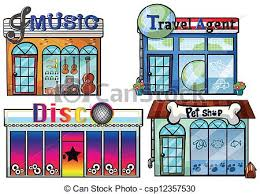 Illustration Of A Musical Store Travel Agent Office Disco House And Pet Shop On White