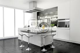 moderne kleine küche mit theke und wandtattoo wandbild poster myloview