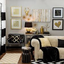 Bring Home Big City Style With Metallic Gold And Black Decor Interesting Living Room