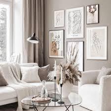 trendy beige boho stil skizze figur abstrakte leinwand malerei wand kunst bild wohnzimmer home interior dekoration kein rahmen