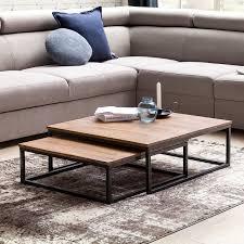 couchtisch akola 2 teilig massivholz 75 x 75 x 27 cm design wohnzimmertisch sheesham holz wohnzimmer lounge tisch palisander massiv mit metall
