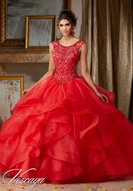 quinceanera dresses by vizcaya jeweled beading on flounced organza
