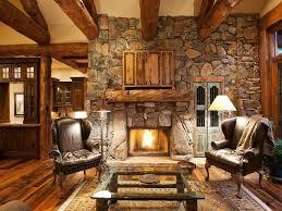Rustic Living Room Craftsman With Exposed Beam Verona Hillstone Glass Panel Door Stone Fireplace