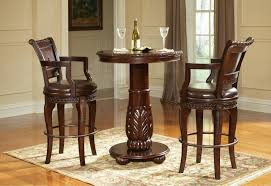 Brown Color Antique And Vintage Round Pub Table And Round Chairs ...