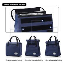 Aosbos Fashionable Insulated Lunch Bag With Pockets Foldable Box For Adults Women Men Kids Girls