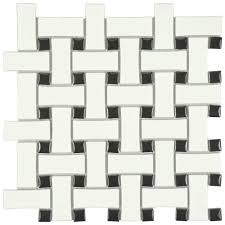 Home Depot Merola Penny Tile by Merola Tile Metro Basket Weave Matte White And Black 10 1 2 In X