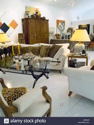 leopard drucken kissen auf weißen sofas in weißen wohnzimmer