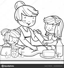 Grandmother And Children Cooking In The Kitchen Coloring Book Page Stock Vector 164676044